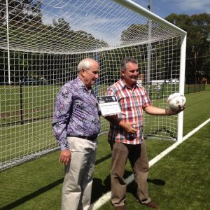mayor Paul Hawker and federal MP Russell Matheson at the official opening of the synthetic surface at Lynwood Park in 2016.
