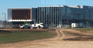 The new Camden Council building as seen from Oran Park Town Centre.