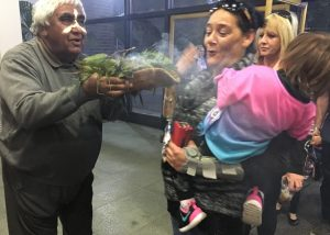 Uncle Ivan performing a smoking ceremony at the swearing in of the new Campbelltown council in September 2016.