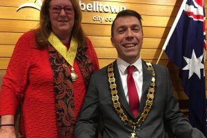 Four notices of motion: veteran councillor Meg Oates with the mayor, George Brticevic.