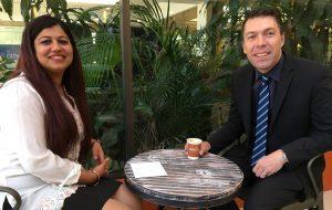 Mayor George Brticevic with Alkalizer cafe owner Shefali.
