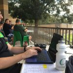 Mike Shean calling grade cricket at Raby Sports Complex for Macarthur Sports Radio during the summer.