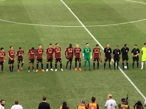 The Wanderers line up before their first ACL game at Campbelltown, against Japanese club Urawa Reds