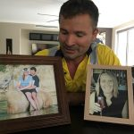 Rodney Curry with photographs of his late wife, Leonie.
