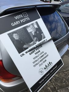 Gary Potts election poster at the back of a car parked on Oxford Road, Ingleburn.