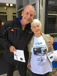 Gary Potts with his helper Val at the Ingleburn prepoll last week.