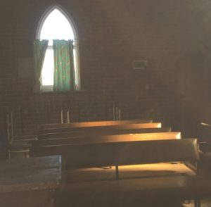 A peek inside the old church, which fronts Redfern Road, Minto