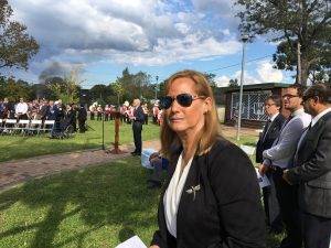 Judy Hannan at an Anzac Day ceremony in Thirlmere.