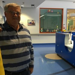 Cr Paul Lake in the pediatric ward of Campbelltown Hospital today.