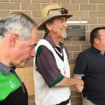 Morris Iemma, Allan Connolly and deputy mayor Darcy Lound at Raby Sports Complex.