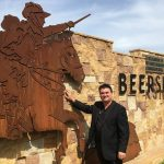 Cr Warren Morrison in front of the Beersheba monument on the corner of Menangle Road and the newly renamed Beersheba Parade, Menangle Park.