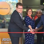 Cr Ben Gilholme, ideas.org.au CEO Diana Palmer, Aboriginal elder Uncle Ivan Wellington and Labor MP Greg Warren cut the ribbon this morning to officially open the head office of the PossAble Advocacy at 300 Queen Street, Campbelltown.