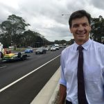 Hume MP Angus Taylor on the wider, faster moving Narellan Road.