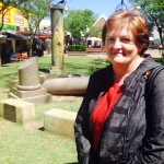 Wrong: Councillor Anne Stanley in front of the cenotaph in the Macquarie Mall, which will be relocated under plans to open the mall to cars at night.