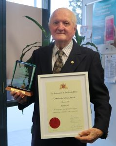 Keith Kent with his NSW Government community service award.