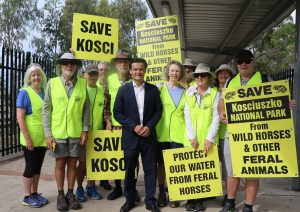 MP Anoulack Chanthivong and some of the Save Kosci walkers at Glenfield Station this morning.