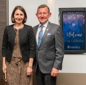 Gladys Berejiklian with Marsden's senior partner Jim Marsden