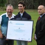 Winner John Lyras and the certificate he received for winning in Camden to qualify for the 2016 NSW Open.