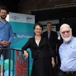 ReFrame patron Ben Quilty, Goulburn MP Pru Goward, Martin Lumetzberger, clinical program director at Community Links Wellbeing (at back), and Larry Whipper, manager of Youth and Family and adolescent support worker at Community Links Wellbeing.