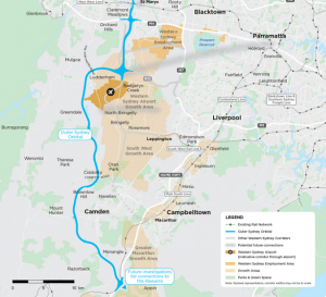 blue line represents the proposed route of the Outer Sydney Orbital or M9.