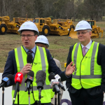 infrastructure minister Alan Tudge with Prime Minister Scot Morrison at Badgerys Creek earlier today.