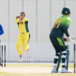 Tanveer Sangha in action for Australia against Pakistan last summer.