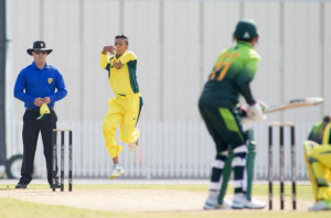 Tanveer Sangha in action for Australia against Pakistan last summer.