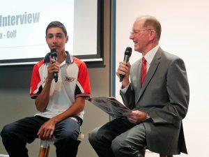 Gerry Knighs interviews young golfer Brandon Vella