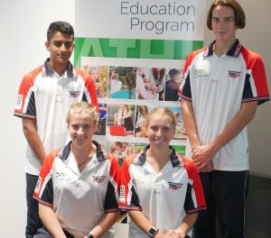 Neeraj Subbanna, Alexzandria Smith, Angus Crozier and Karley McVittie, were all smiles after being recognized as peer sporting figures at the Camden Council SWSAS athlete reception.