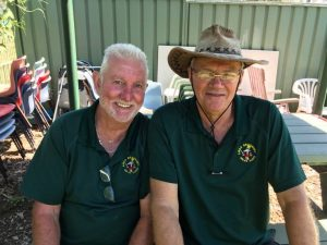 A couple of Airds Bradbury men's shed members during a recent activity,