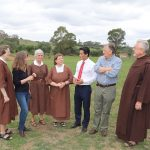 MP Anoulack Chanthivong with opponents of cemetery plans at Varroville.