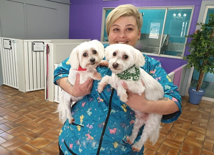 "Tepra at her Barkingham Palace Dog Grooming in Holylea Road, Leumeah with a couple of happy ""customers''."