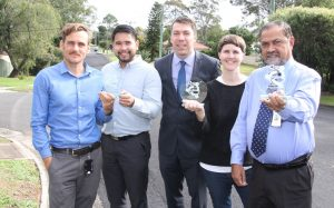 Environmental Education Officer Michael Rhydderch, Youth Project Officer Dave Ramas (Schools for Sustainability, a joint project), Mayor of Campbelltown, Cr George Brticevic, Campbelltown Arts Centre Production Coordinator Jenn Blake (art exhibition) and Asset Services Coordinator Mahbub Hossain (microsurfacing treatment project).