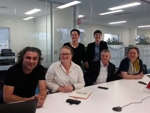 arts centre director Michael Dagostino (left) and Camden and Campbelltown Hospitals general manager Alison Derrett  (second left) at a meeting to discuss arts and culture in the Campbelltown Hospital redevelopment.