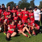 The Eagles women's side celebrate their 20-18 win over Mascot on the weekend.
