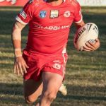 Chris Standing running in the last try for the Eagles in the big 42-16 win over Guildford a Waminda Oval on Sunday.