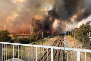 The fire at Moorebank earlier this year.
