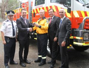 RFS Deputy Commissioner Robin Rogers, Mayor George Brticevic, Lynwood Park Brigade captain Mark Williams, NSW Emergency Services Minister Troy Grant and Camden State Liberal MP Chris Patterson.