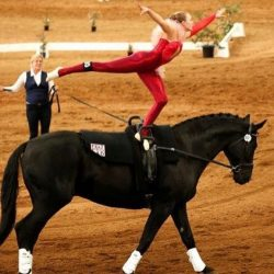 equestrian star Ginger Kennett during competition.