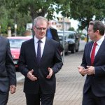 Talking about infrastructure: Mayor George Brticevic and MPs Michael Daley and Greg Warren on their tour of the main street in the Campbelltown CBD last week.