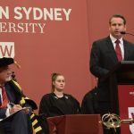 MP Greg Warren delivering his speech at the Western Sydney University graduation