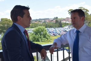 MP Greg Warren with NSW Shadow Treasurer Ryan Park discussing the commuter parking issue at Campbelltown Station.