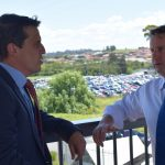 Greg Warren discussing the need for more commuter parking at Campbelltown Station with shadow treasurer Ryan Park
