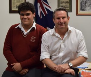 """Hamani Tanginoa, who has been selected as the Youth Member for Campbelltown in the 2018 YMCA NSW Youth Parliament, meets the """"senior'' State Member for Campbelltown Greg Warren."""