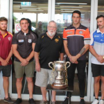 the captains of the eight clubs with Ted McDonald from Bargo Sports Club, the competition's major sponsor. The Group 6 season launch was held at the club last weekend.