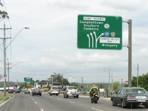 The Hume Highway between the Cross Roads and Campbelltown