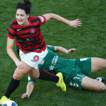 Jessica Seaman wins the ball at Campbelltown on Sunday against Canberra. Picture courtesy of the Wanderers