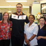 Josh Aloiai during a visit to a local hospital just before Christmas.