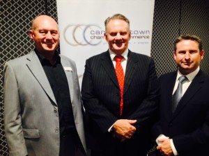 Rick Fitzpatrick, the chamber president, Mark Latham and Greg Warren, chamber vice president and Labor Party candidate for Campbelltown at the next state election.