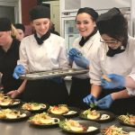 hospitality students cooking up a storm for yesterday's Camden High School Long Lunch,